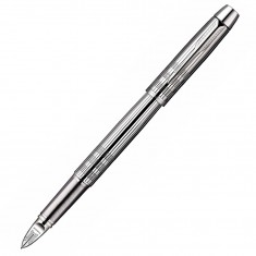 Parker IM Premium - Shiny Chrome Chiselled CT, ручка 5th пишущий узел, F, BL